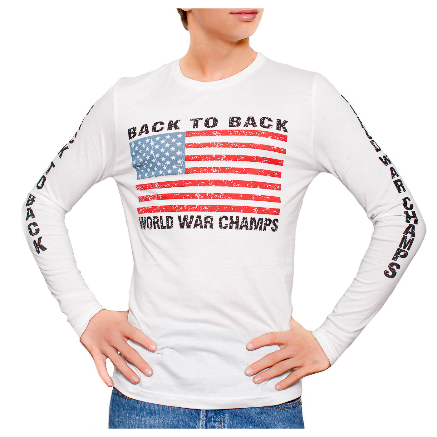 b78a7cf83 ... Back World War Champs L/S Long Sleeve T-shirt S-3XL. B2BWWC_LS_WHITE